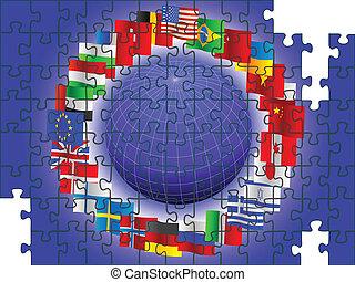 mundo, en, el, forma, de, un, rompecabezas