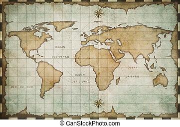 mundo, envelhecido, antigas, mapa
