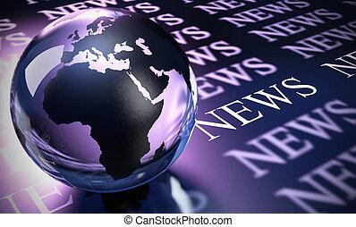 mundo, esfera, hecho, en, vidrio, y, el, palabra, noticias, imagen, es, azul, y, púrpura, toned