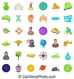 mundo, estilo, bom, caricatura, jogo, ícones