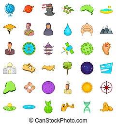 mundo, estilo, caricatura, jogo, ícones