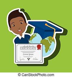 mundo, Estudiante, graduación,  Diploma