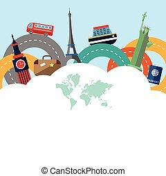 mundo, excursão, viagem