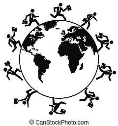 mundo, executando, ao redor, pessoas negócio