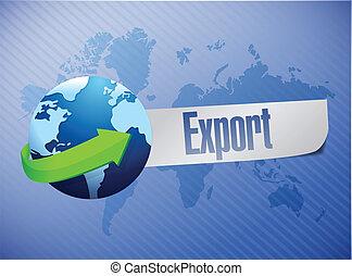 mundo, exportación, diseño, ilustración, mapa