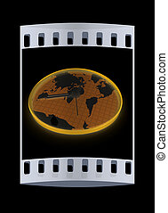 mundo, faixa, map., película, relógio