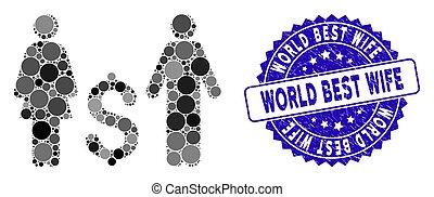 mundo, família, dólar, melhor, ícone, selo, mosaico, esposa, arranhado