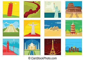 mundo, famoso, monumentos