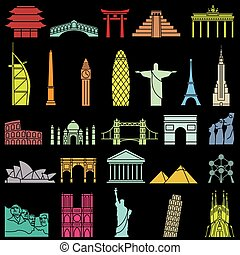 mundo, famoso, monumentos, icono, conjunto