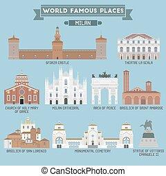 mundo, famoso, place., italy., milan