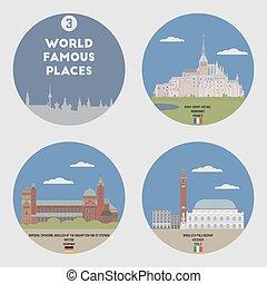 mundo, famoso, places., conjunto, 3