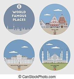 mundo, famoso, places., conjunto, 6
