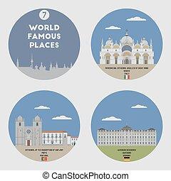 mundo, famoso, places., conjunto, 7