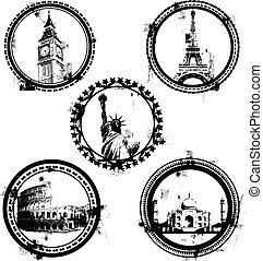 mundo, famoso, señales, sellos