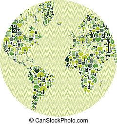 mundo, feito, verde, ícones