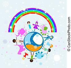 mundo, feliz, crianças, inverno