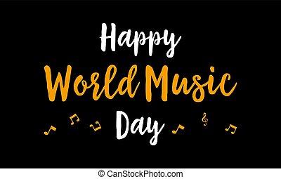 mundo, feliz, música, dia, celebração