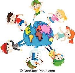 mundo, feliz, niños, alrededor