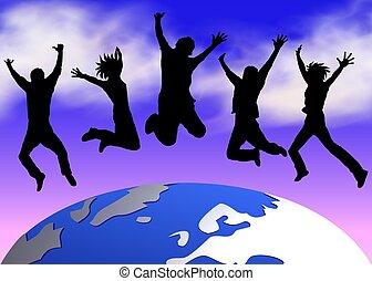 mundo, feliz, pessoas