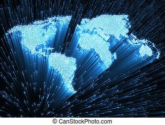 mundo, fibra ótica