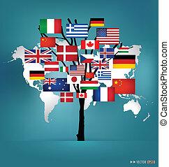 mundo, flags., vetorial, illustration.