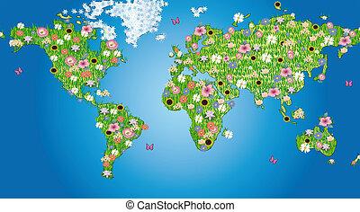 mundo, flores