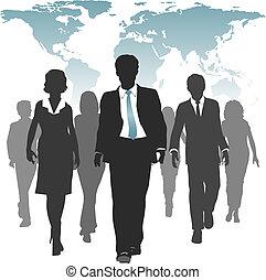 mundo, força trabalho, pessoas negócio, recursos humanos