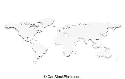 mundo, forma, papel, map.