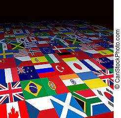 mundo, fundo, bandeiras