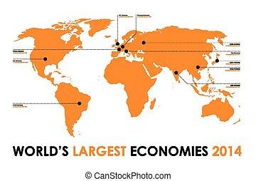 mundo, fundo, figura, economia