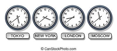 mundo, fuso horário, clocks