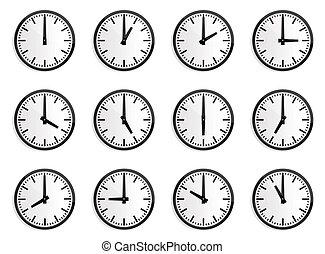 mundo, fuso horário, relógio de parede, vetorial