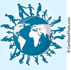 mundo, gente, mapa, inmigración
