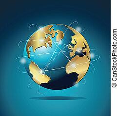 mundo, global, comercio, comunicación