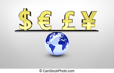 mundo, global, equilíbrio, economia