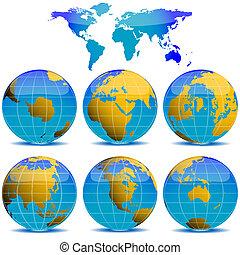 mundo, globos, cobrança