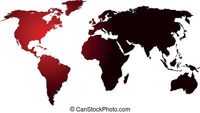 mundo, glowing, mapa