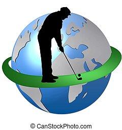 mundo, golf, alrededor