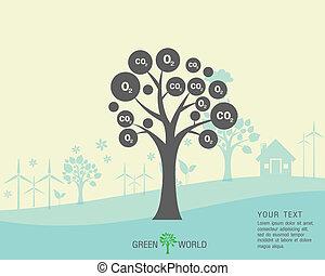 mundo, grande, salvar, ecológico