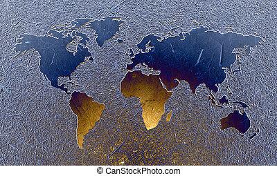 mundo, gravado, mapa