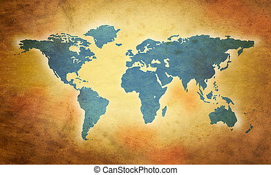 mundo, grunge, mapa