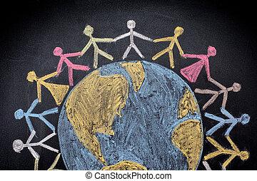 mundo, grupo, ao redor, pessoas