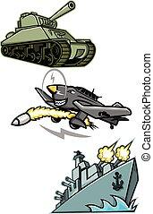 mundo, guerra, 2, veículos militares, mascote