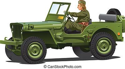 mundo, guerra, ejército, jeep., dos