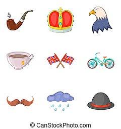 mundo, história, ícones, jogo, caricatura, estilo