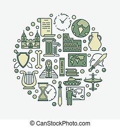 mundo, história, ilustração