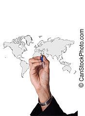 mundo, hombre, empresa / negocio, mano