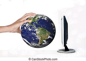 mundo, human, segurando mão