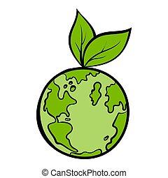 mundo, icono, caricatura, natural