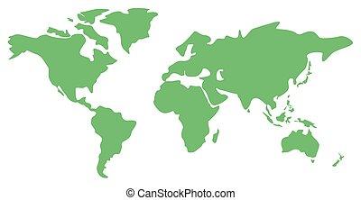 mundo, ilustración, mapa